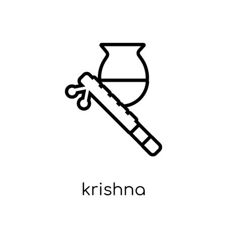 Icona di Krishna Janmashtami. Icona moderna tendenza di Krishna Janmashtami piatto lineare di vettore su priorità bassa bianca da collezione india di linea sottile, illustrazione di vettore di corsa di profilo modificabile