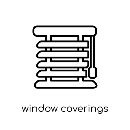 window coverings icon. Trendy modern flat linear vector window coverings icon on white background from thin line Furniture and household collection, outline vector illustration
