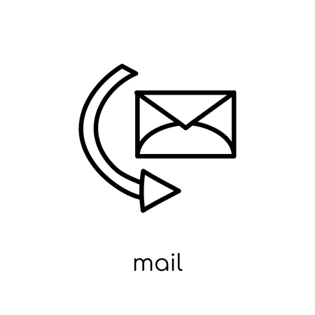 mail icon. Trendy modern flat linear vector mail icon on white background from thin line collection, outline vector illustration 일러스트