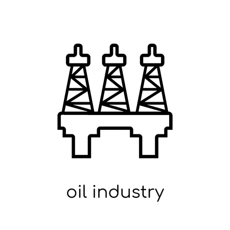 oil industry icon. Trendy modern flat linear vector oil industry icon on white background from thin line Industry collection, outline vector illustration