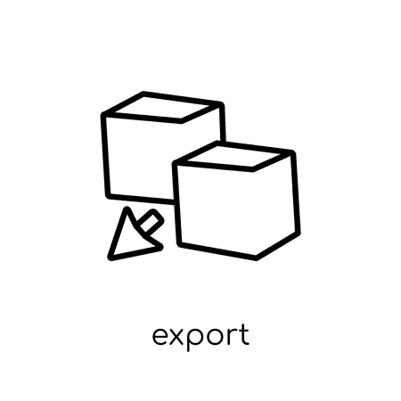 export icon. Trendy modern flat linear vector export icon on white background from thin line collection, outline vector illustration Banque d'images - 112098741