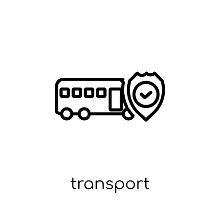 Transport insurance icon. Trendy modern flat linear vector Transport insurance icon on white background from thin line Insurance collection, editable outline stroke vector illustration