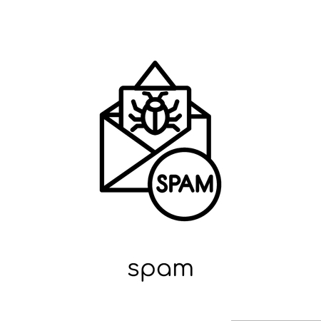 Spam icon. Trendy modern flat linear vector Spam icon on white background from thin line Internet Security and Networking collection, editable outline stroke vector illustration Illustration