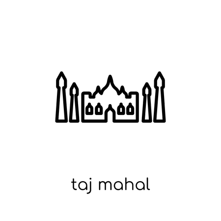 Taj mahal icon. Trendy modern flat linear vector Taj mahal icon on white background from thin line india collection, editable outline stroke vector illustration  イラスト・ベクター素材