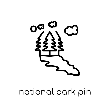 National Park Pin icon. Trendy modern flat linear vector National Park Pin icon on white background from thin line Maps and Locations collection, editable outline stroke vector illustration
