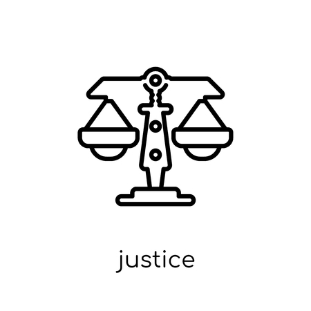 Justice icon. Trendy modern flat linear vector Justice icon on white background from thin line law and justice collection, editable outline stroke vector illustration