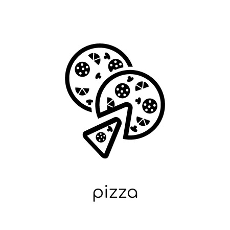 pizza icon. Trendy modern flat linear vector pizza icon on white background from thin line Restaurant collection, outline vector illustration