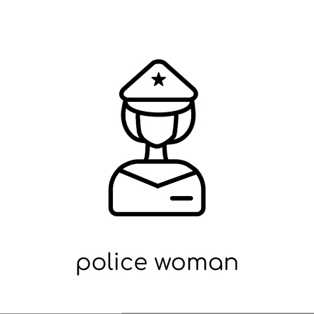 Police Woman icon. Trendy modern flat linear vector Police Woman icon on white background from thin line Ladies collection, editable outline stroke vector illustration