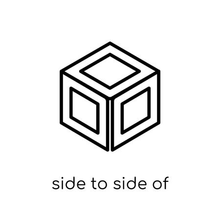 Seite an Seite eines Würfelsymbols. Trendiger, moderner, flacher, linearer Vektor von Seite zu Seite eines Würfelsymbols auf weißem Hintergrund aus dünner Geometriesammlung, Umrissvektorillustration vector