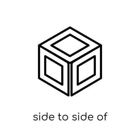 side to side of a cube icon. Trendy modern flat linear vector side to side of a cube icon on white background from thin line Geometry collection, outline vector illustration