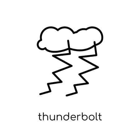 thunderbolt icon. Trendy modern flat linear vector thunderbolt icon on white background from thin line Weather collection, outline vector illustration Illustration