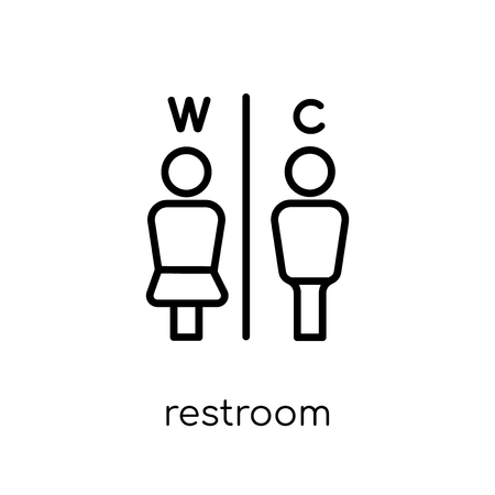restroom icon. Trendy modern flat linear vector restroom icon on white background from thin line Hotel collection, outline vector illustration