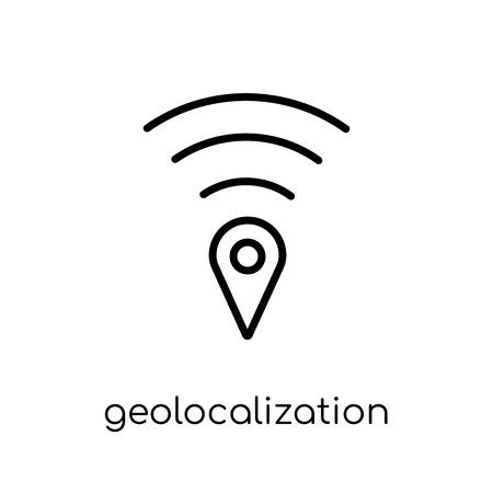 Symbol für Geolokalisierung. Trendiges modernes flaches lineares Vektor-Geolokalisierungssymbol auf weißem Hintergrund aus dünner Linie Karten- und Standortsammlung, bearbeitbare Umriss-Stroke-Vektorillustration Vektorgrafik