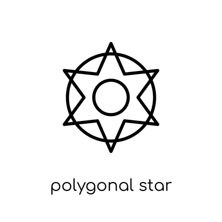 polygonal star of six points icon. Trendy modern flat linear vector polygonal star of six points icon on white background from thin line Geometry collection, outline vector illustration