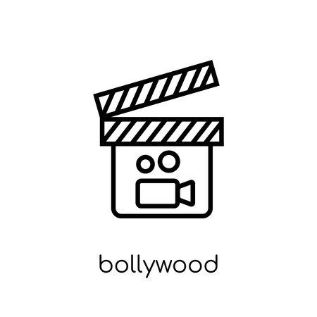 bollywood icon. Trendy modern flat linear vector bollywood icon on white background from thin line india collection, editable outline stroke vector illustration Illustration