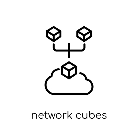 network Cubes icon. Trendy modern flat linear vector network Cubes icon on white background from thin line Internet Security and Networking collection, editable outline stroke vector illustration