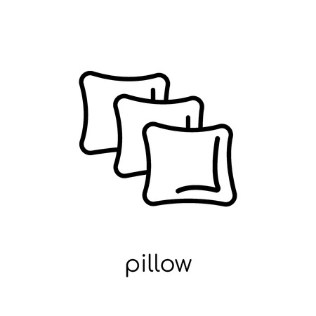 pillow icon. Trendy modern flat linear vector pillow icon on white background from thin line Hotel collection, outline vector illustration  イラスト・ベクター素材