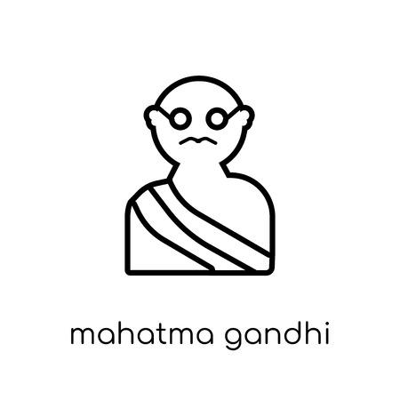 mahatma gandhi icon. Trendy modern flat linear vector mahatma gandhi icon on white background from thin line india collection, editable outline stroke vector illustration Illustration