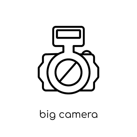 Big Camera icon. Trendy modern flat linear vector Big Camera icon on white background from thin line hardware collection, editable outline stroke vector illustration