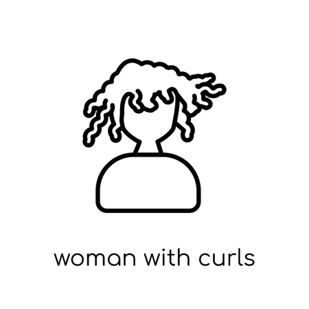 Woman with Curls icon. Trendy modern flat linear vector Woman with Curls icon on white background from thin line Ladies collection, editable outline stroke vector illustration