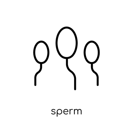 Sperm icon. Trendy modern flat linear vector Sperm icon on white background from thin line Health and Medical collection, editable outline stroke vector illustration Illustration
