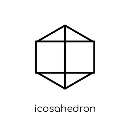 icosahedron icon. Trendy modern flat linear vector icosahedron icon on white background from thin line Geometry collection, outline vector illustration Illusztráció