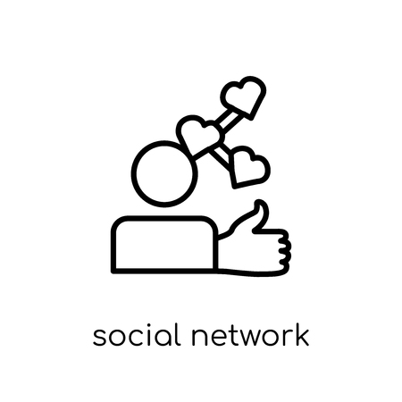 social network icon. Trendy modern flat linear vector social network icon on white background from thin line collection, outline vector illustration