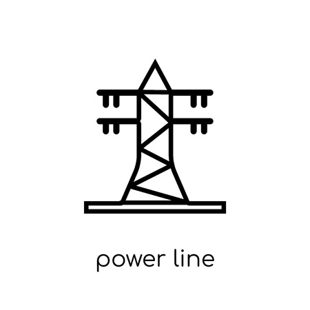 power line icon. Trendy modern flat linear vector power line icon on white background from thin line Industry collection, outline vector illustration Foto de archivo - 111334315