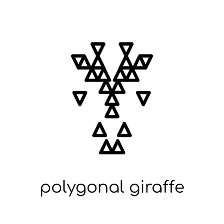 polygonal giraffe icon. Trendy modern flat linear vector polygonal giraffe icon on white background from thin line Geometry collection, outline vector illustration