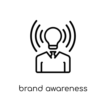 brand awareness icon. Trendy modern flat linear vector brand awareness icon on white background from thin line general collection, editable outline stroke vector illustration Archivio Fotografico - 111334317