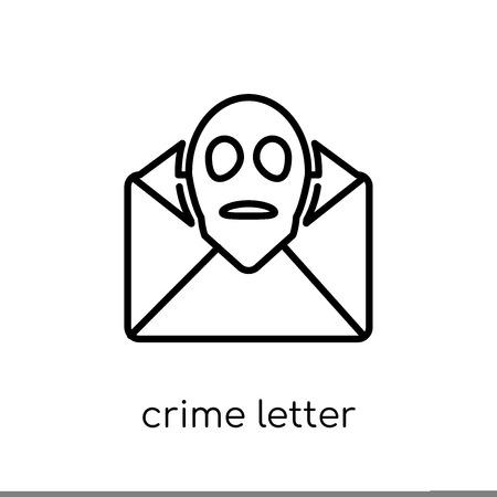Kriminalität Briefsymbol. Trendige moderne flache lineare Vektorkriminalität Briefsymbol auf weißem Hintergrund aus dünner Linie Gesetz und Justizsammlung, bearbeitbare Umriss-Stroke-Vektorillustration