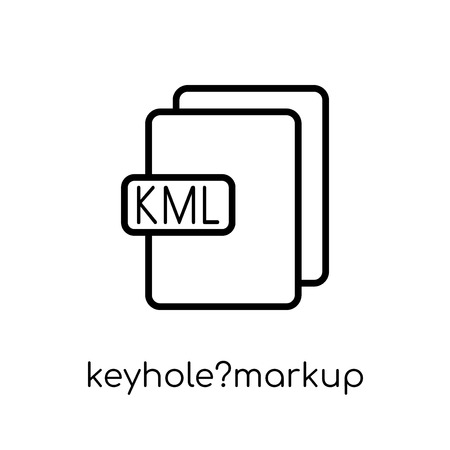 keyhole?markup language icon. Trendy modern flat linear vector keyhole?markup language icon on white background from thin line Maps and Locations collection, outline vector illustration