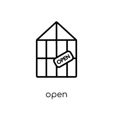 open icon. Trendy modern flat linear vector open icon on white background from thin line Restaurant collection, outline vector illustration