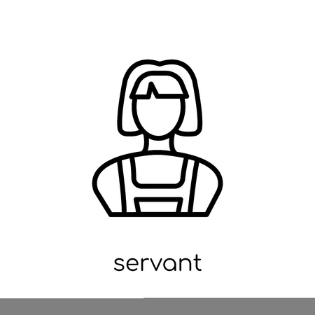 servant icon. Trendy modern flat linear vector servant icon on white background from thin line Hotel collection, outline vector illustration Stock Illustratie