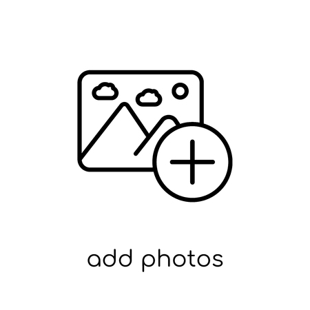 add photos icon. Trendy modern flat linear vector add photos icon on white background from thin line general collection, editable outline stroke vector illustration