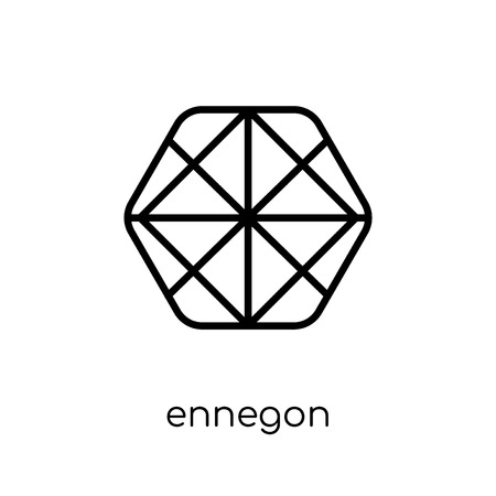 ennegon icon. Trendy modern flat linear vector ennegon icon on white background from thin line Geometry collection, outline vector illustration
