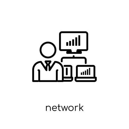 network adminstrator icon. Trendy modern flat linear vector network adminstrator icon on white background from thin line Internet Security and Networking collection, outline vector illustration