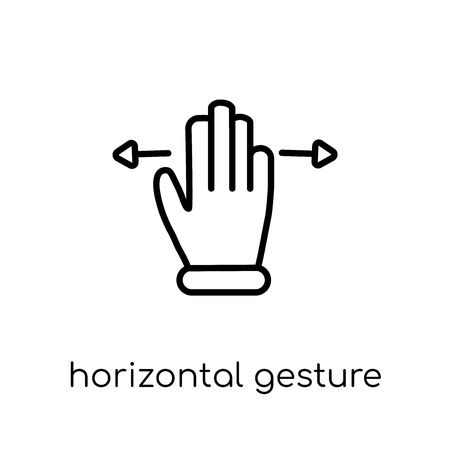 Horizontal gesture icon. Trendy modern flat linear vector Horizontal gesture icon on white background from thin line Hands and guestures collection, editable outline stroke vector illustration Illustration