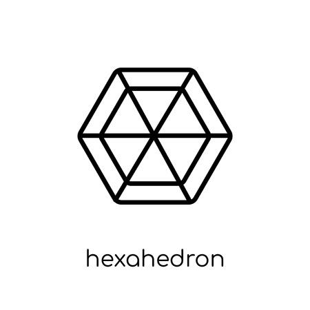 icône de l'hexaèdre. Icône moderne dernier cri d'hexaèdre plat linéaire vectoriel sur fond blanc de la collection de géométrie fine ligne, contour vector illustration