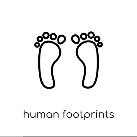 Human footprints icon. Trendy modern flat linear vector Human footprints icon on white background from thin line Human Body Parts collection, editable outline stroke vector illustration Çizim