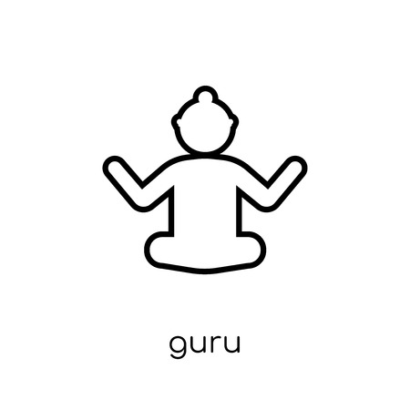 Guru icon. Trendy modern flat linear vector Guru icon on white background from thin line india collection, editable outline stroke vector illustration