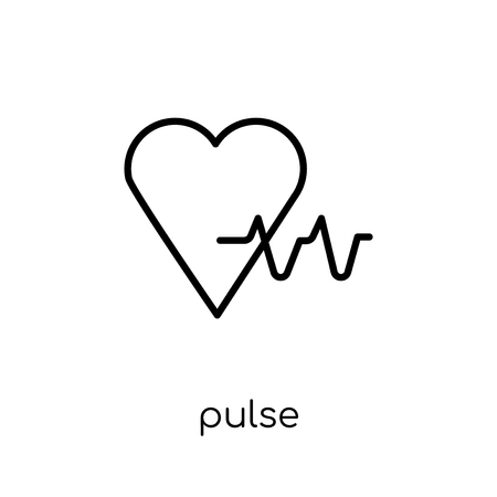Pulse icon. Trendy modern flat linear vector Pulse icon on white background from thin line Health and Medical collection, editable outline stroke vector illustration