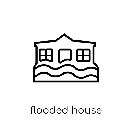 Flooded house icon. Trendy modern flat linear vector Flooded house icon on white background from thin line Insurance collection, editable outline stroke vector illustration Illustration