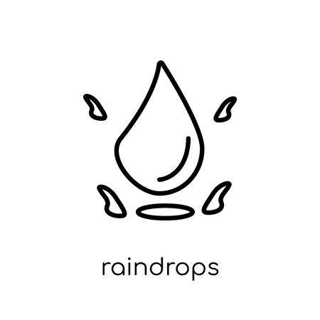 icona di gocce di pioggia. Icona moderna tendenza di gocce di pioggia piatto lineare di vettore su priorità bassa bianca da collezione di linea sottile, illustrazione di vettore del profilo