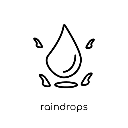 raindrops icon. Trendy modern flat linear vector raindrops icon on white background from thin line collection, outline vector illustration Illustration