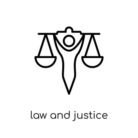 law and justice icon. Trendy modern flat linear vector law and justice icon on white background from thin line law and justice collection, editable outline stroke vector illustration Illustration