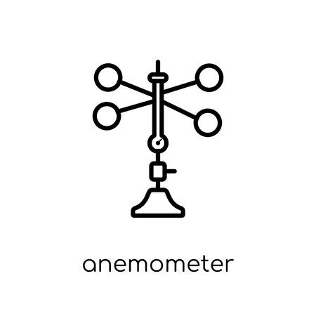 icône de l'anémomètre. Icône moderne dernier cri d'anémomètre plat linéaire vectoriel sur fond blanc de la mince ligne collection météo, contour vector illustration Vecteurs