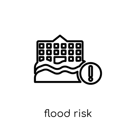 Flood risk icon. Trendy modern flat linear vector Flood risk icon on white background from thin line Insurance collection, editable outline stroke vector illustration Illustration