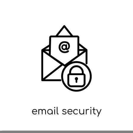 Email security icon. Trendy modern flat linear vector Email security icon on white background from thin line Internet Security and Networking collection, editable outline stroke vector illustration