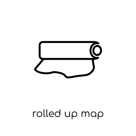 Rolled Up Map icon. Trendy modern flat linear vector Rolled Up Map icon on white background from thin line Maps and Locations collection, editable outline stroke vector illustration Archivio Fotografico - 112095795